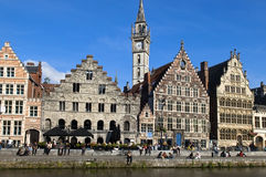 Ghent Graslei On The Waterfront Royalty Free Stock Photo