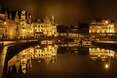 Ghent historic city center Graslei and Korenlei Stock Image