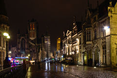 Ghent historical centre by night. View on the old towers  from Saint Michaels bridge Royalty Free Stock Image