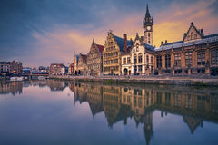 Ghent. Image of Ghent, Belgium during dramatic twilight royalty free stock photos