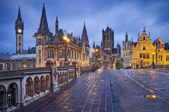Ghent. Image of Ghent, Belgium during rainy twilight blue hour stock images