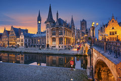 Ghent. Image of Ghent, Belgium during twilight blue hour royalty free stock images