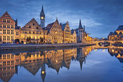 Ghent. Image of Ghent, Belgium during twilight blue hour stock images