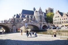 Ghent kanał Zdjęcia Royalty Free