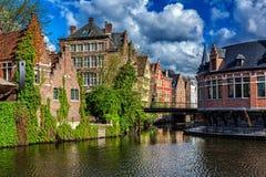 Ghent kanal Belgien ghent Arkivfoton