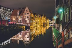 Ghent Merchant Houses and Canal by Night royalty free stock images