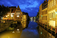 Ghent by night. Near water Stock Photography