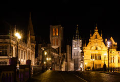 Ghent at night Royalty Free Stock Photography