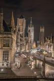 Ghent och dess torn Royaltyfria Bilder