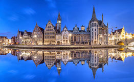 Ghent skyline reflecting in water, Belgium Royalty Free Stock Photo