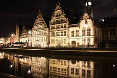 Ghent stary miasteczko przy nocą Obraz Royalty Free
