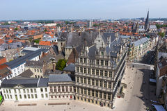 Ghent Town Hall. Overview of Ghent with Town Hall in the front stock images