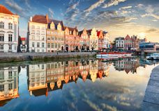 Ghent town with old house at sunset, Belgium stock photo