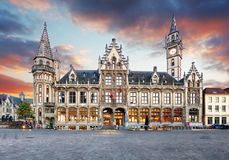 Ghent town with old house at sunset, Belgium Stock Images