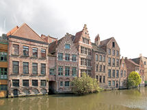 Ghent, typical houses along Lys Ghent, Belgium. Stock Photo