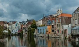 Ghent Canals V. A picture of facades of buildings next to the canals of Ghent stock photography