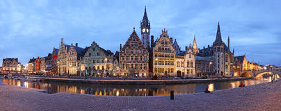 Ghent XXL Panorama. XXL panorama of the wonderful architecture of Ghent, Belgium at dusk stock images