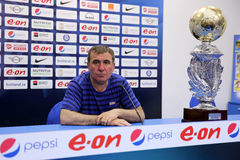 Gheorghe Hagi. Football manager and former romanian footballer, Gheorghe Hagi pictured during a press conference after winning the romanian football title with Stock Image