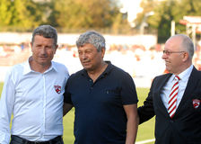 Gheorghe Multescu, Mircea Lucescu and Costel Anghelache in Dinamo Bucharest-Shaktar Donetk Stock Images
