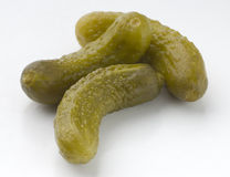 Gherkin. Tasty, green and fresh seasoned and salted pickles Stock Image