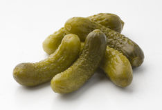Gherkin. Tasty, green and fresh seasoned and salted pickles Royalty Free Stock Image