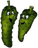 Gherkin. Green vegetables, cartoon illustration as vector Stock Photo