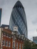 Gherkin Building. Grey skies picture of Londons Gherkin building stock photo