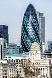 The Gherkin. Cityscape of London, view from Tower Bridge Royalty Free Stock Photo