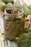 Gherkin in glass with mustard seed and dill Royalty Free Stock Image