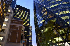 The Gherkin, London, England. Interesting perspective on one of Londons biggest architectural landmarks Royalty Free Stock Image