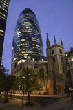 The Gherkin, London, England. Nightime view of modern Londons most famous building Royalty Free Stock Image