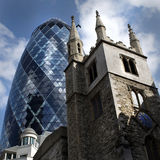 The Gherkin - Old & New side by side Royalty Free Stock Image