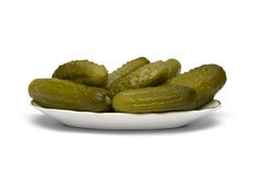 Gherkin pickles. On white background Royalty Free Stock Photos