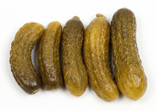 Gherkin pickles. Closeup on white background Stock Photo