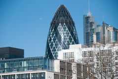The Gherkin, skyscraper in London. London, England UK. 07 march, 2016. The skyscraper 30 St Mary Axe known as The Gherkin seen from the Tower Bridge Stock Photo