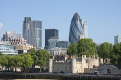 Gherkin and Tower of London. View of London's skyline showing the Gherkin and Tower of London Royalty Free Stock Photos