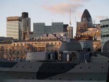 Gherkin and war ship Stock Image