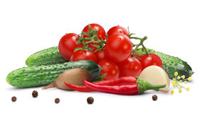 Gherkins, cherry tomatoes for pickling, paths Royalty Free Stock Photography