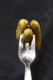 Gherkins on a fork Stock Photography