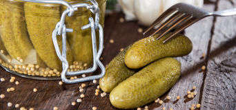 Gherkins in a glass. Gherkins with fresh dill in a glass Stock Photography