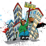 Ghetto Blunt Street. Illustration of a guy sitting with a pot bag Royalty Free Stock Photography