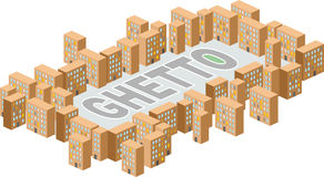 Ghetto district. Building in form of letters. Vector illustratio Royalty Free Stock Photo