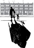 Ghetto Family. Woodcut style expressionist image of an elderly woman walking in hand with a child in front of row homes royalty free illustration