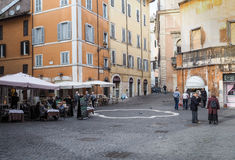 Ghetto of Rome. Typical restaurants, bars and shops in piazza Costaguti square. Ghetto of Rome Stock Photography