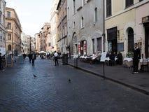 Ghetto of Rome. Typical restaurants, bars and shops in the street Via del Portico d`Ottavia. Ghetto of Rome Stock Photo