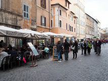 Ghetto of Rome. Typical restaurants, bars and shops in the street Via del Portico d`Ottavia. Ghetto of Rome Stock Photography
