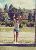 Ghetto street workout, vintage photo handsome man Stock Images