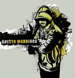 Ghetto Warriors. Item from Ghetto Warriors vector collection. Gangster on dirty graffiti background. Monochrome image. Vector illustration Stock Image