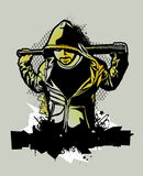 Ghetto Warriors. Item from Ghetto Warriors vector collection. Gangster on dirty graffiti background. Monochrome image. Vector illustration Stock Photos