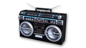 Ghettoblaster-Kassettenrecorder, Audiogeräte lokalisiert auf Weiß Lizenzfreie Stockfotos